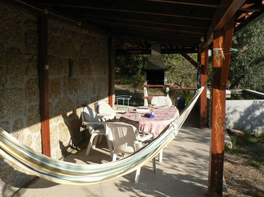Hangmat op de veranda