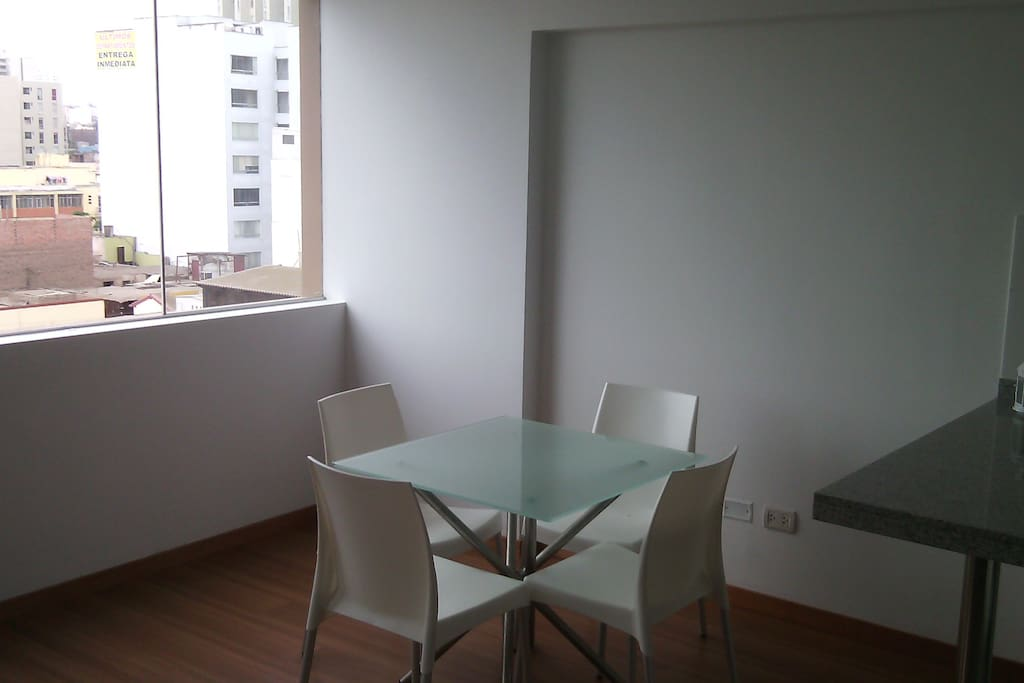 Square Dining Room with street view.