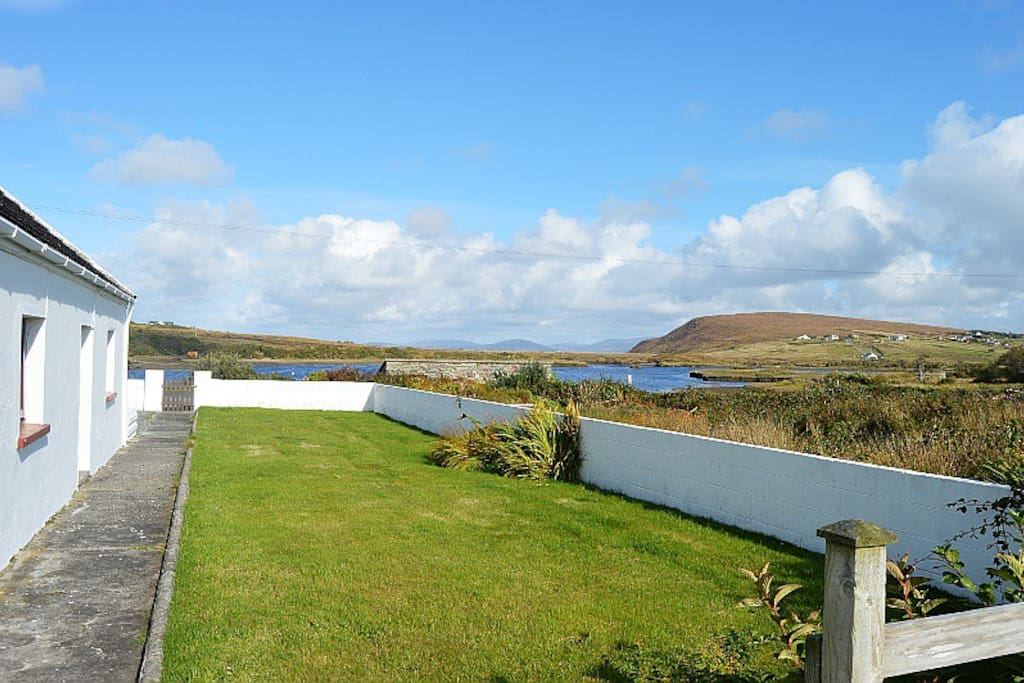 Safe, Fully enclosed private gardens over-looking the hills and estuary of Saula.