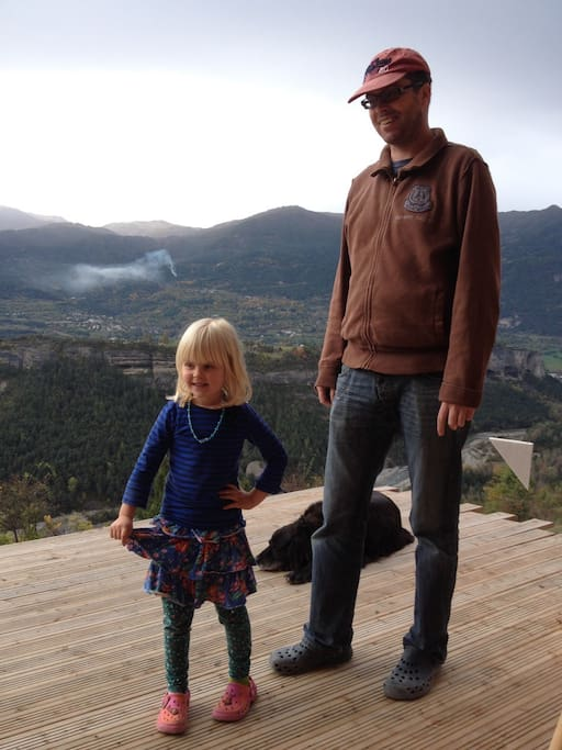 me and my daughter on holiday. The dog is not ours (we only have a cat)