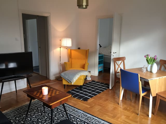 A tastefully decorated 2 room apartment.