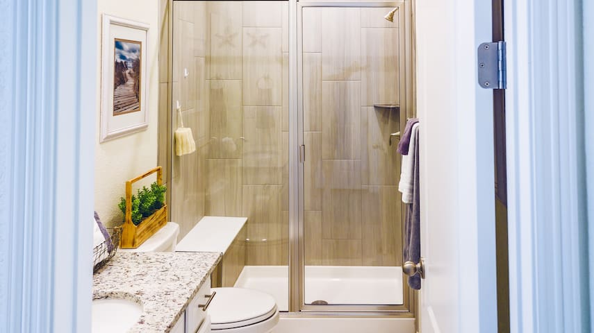 The Bathroom: Tile Walk-in shower (Towels and wash-cloths provided)