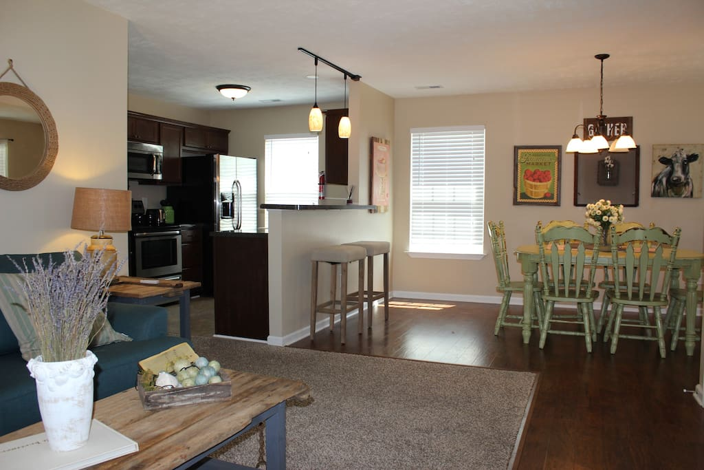 I love the open concept - living room, dining & kitchen allow for conversation