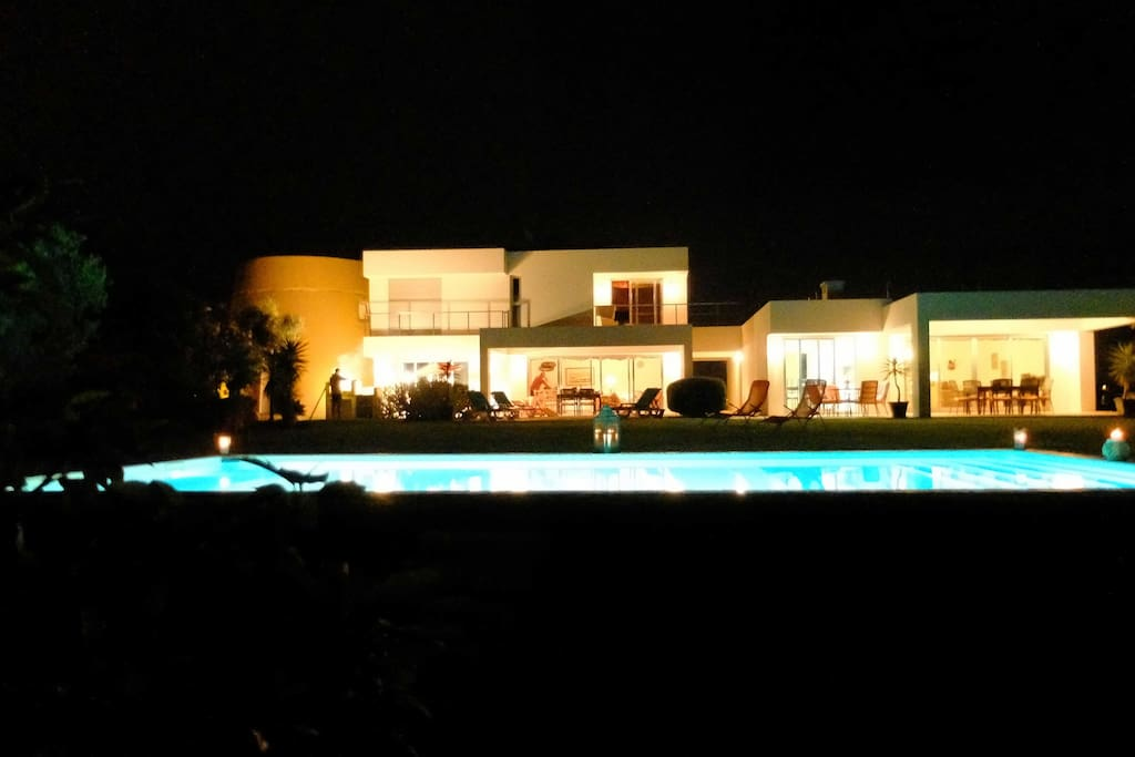 Main House Front View at Night