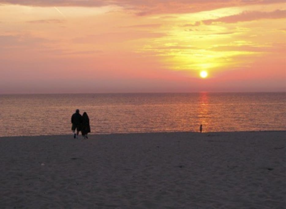 Enjoy sunsets over Lake Michigan from nearby beaches or the M-22 overlook.