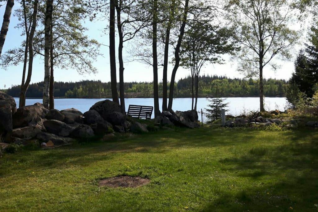 Blick vom Haus in den Garten und auf den See