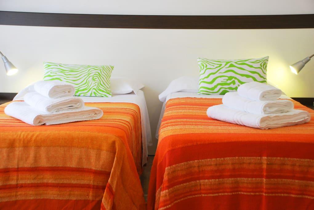 stanza doppia con letti singoli, dettagli, attrezzature, asciugamani, cura dei particolari,