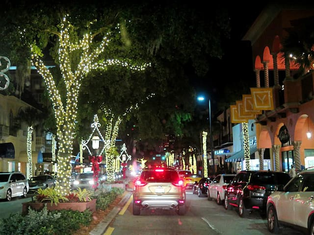 European Charm, dinner outside, music, dancing, deserts, ice cream.  I suggest The Floridian open 24 hr delicious breakfast, great price.  Enjoy your walk, relax, it's romantic.  Great shops, wow the art, simply the best.  Nightclubs, Jazz live music