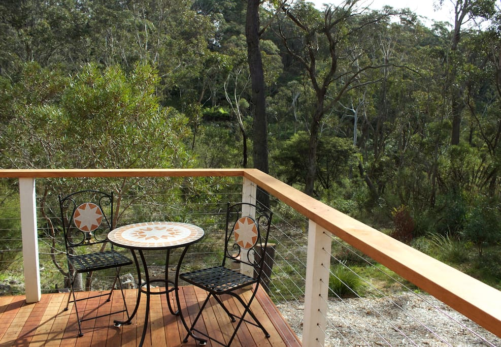 Imagine having breakfast here on the deck in the sunshine or relaxing with a good book !