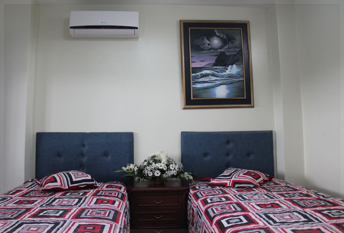 The studio has two medium size beds with A/C