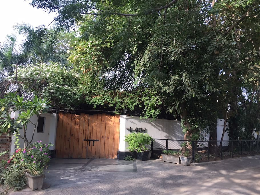 Outside the house