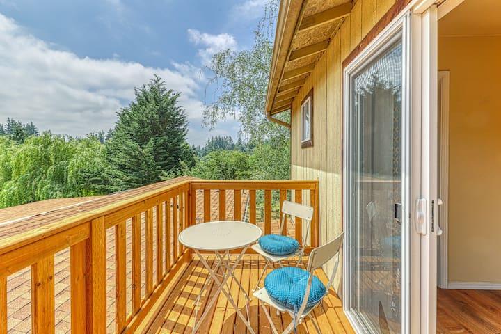 Dog-friendly house & studio w/ a deck, private hot tub, firepit, & large yard