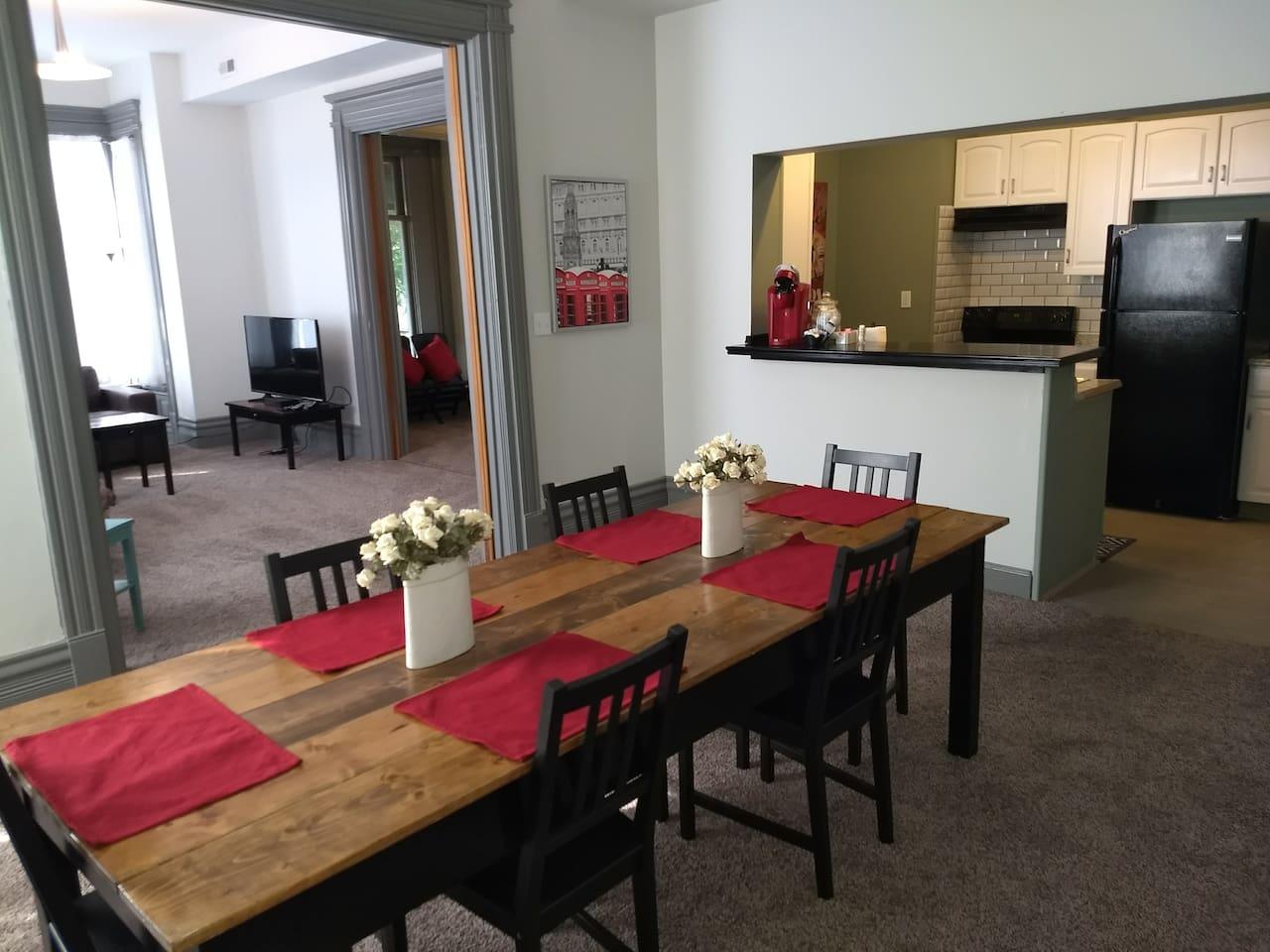 Open, light filled apartment