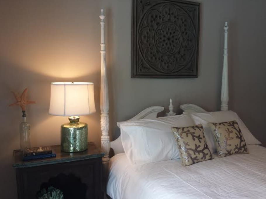 A bedside lamp for our book-loving guests