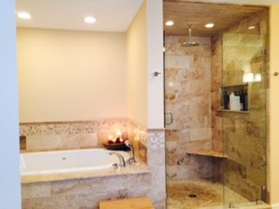 2nd Floor Master Bath, Soaker Tub, walk in shower, double sink vanity