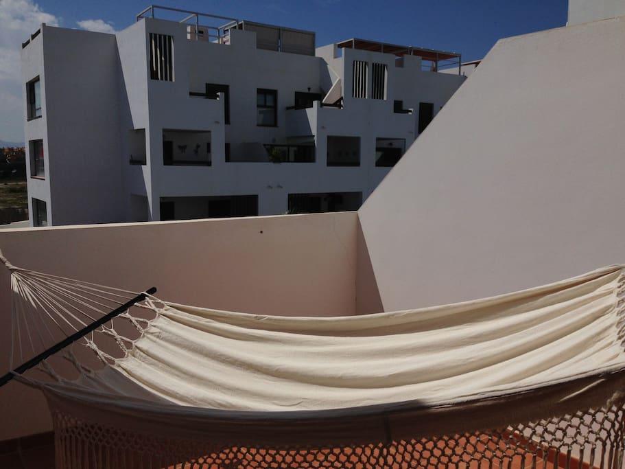 Terraza con hammac