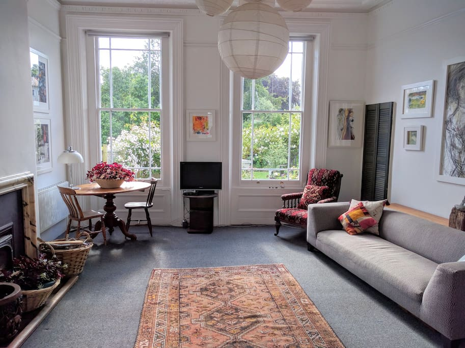 High ceilings and tall windows allow in lots of light