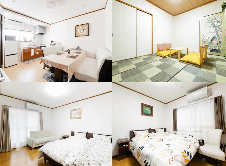Near Namba Station ,3 bedrooms, 1 living room.