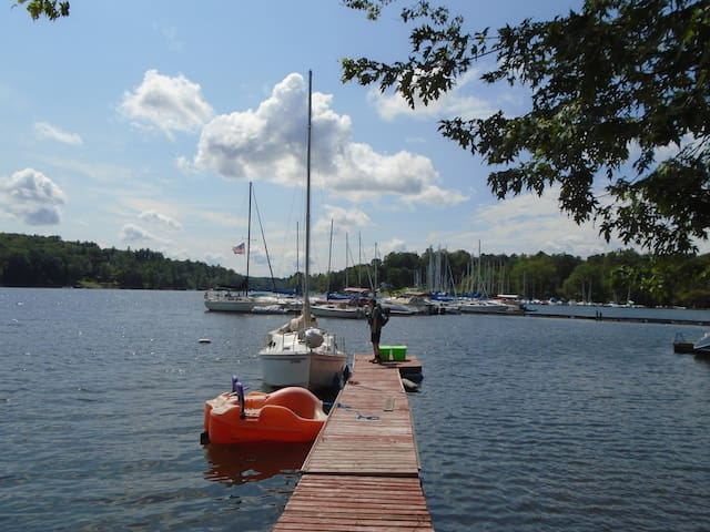 Private dock with paddle boat for guest use.