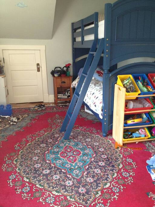 Boy's room with bunkbeds and toys!
