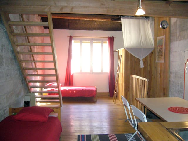 Atypical loft-attic in an old house - Aviñón - Loft