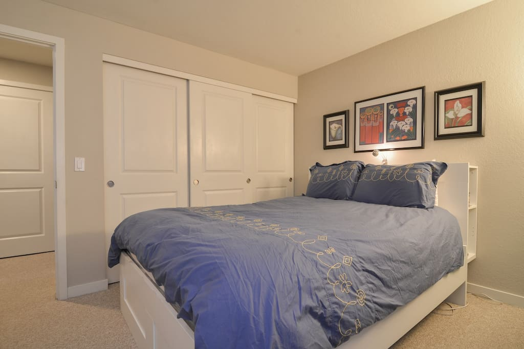 Your bedroom has a comfy queen-sized bed