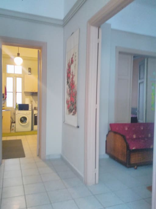 The entrance. Your room at the right side and the kitchen at left side.