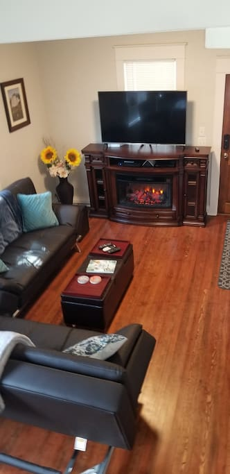 Living room, electric fireplace