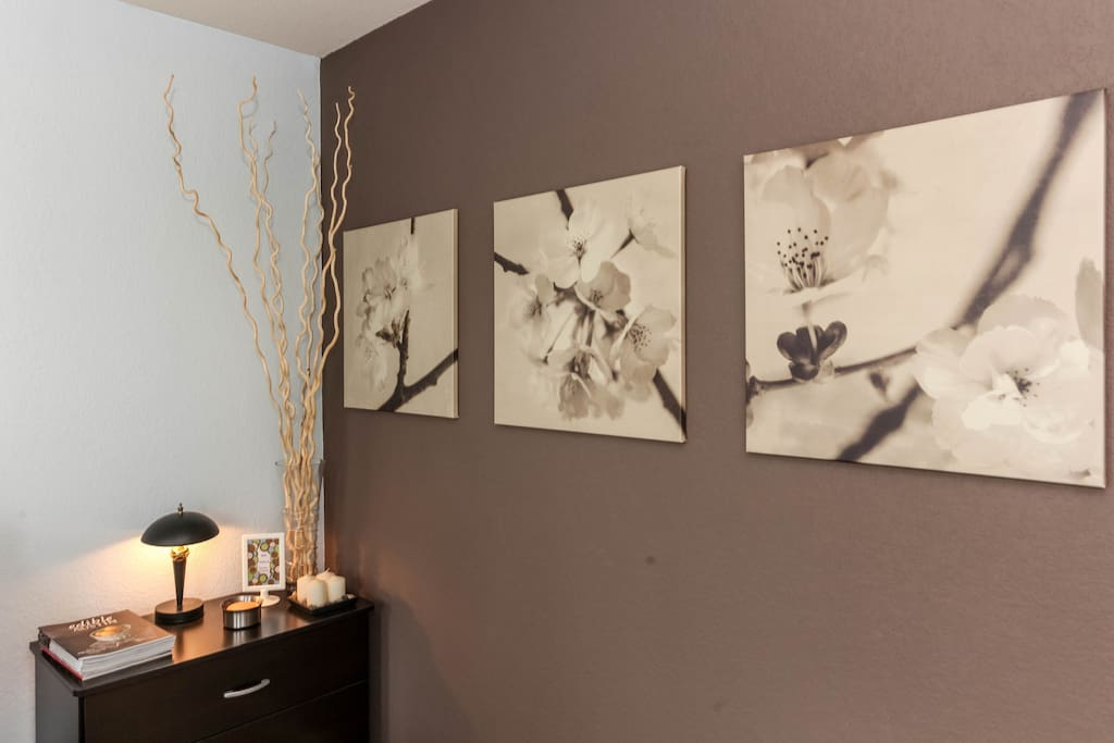 The bedroom highlights harmony and peace with flowers, sticks, and good karma