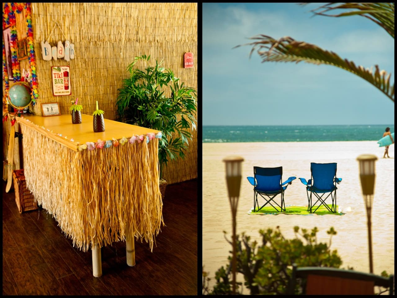 The sand is only 10 steps from your indoor Tiki Bar! YES this is a REAL photo of the actual beach with  our portable beach chairs.