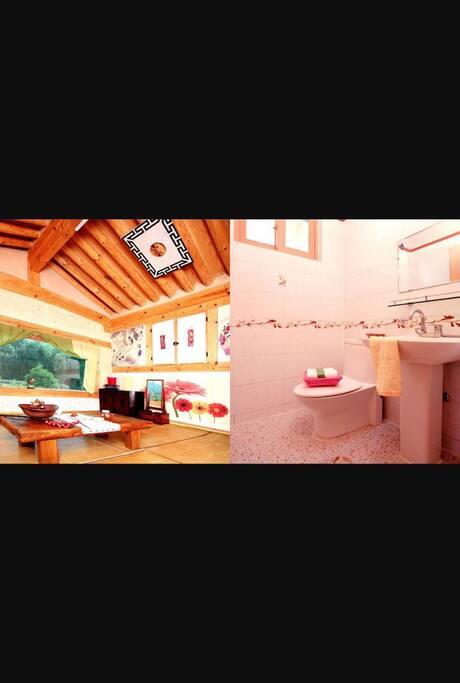 한옥 객실과 욕실