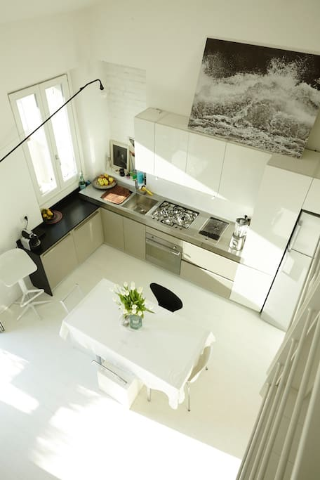 open-space kitchen seen from upstairs
