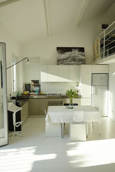 living-room, open-space kitchen