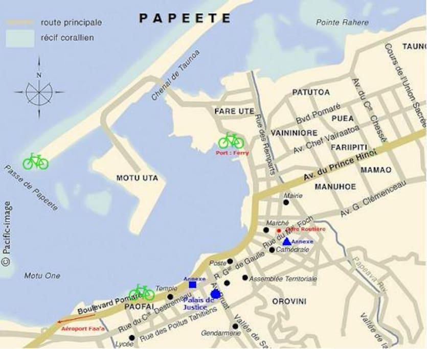 Plan de la ville de Papeete.