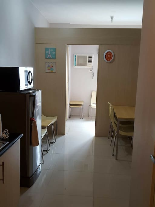 Kitchen and dining area, refrigerator and microwave