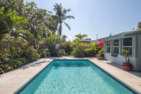 Plant-filled home with private pool and great central location!