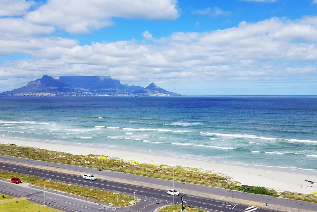 Full view of Table Mountain and Robben Island from the apartment