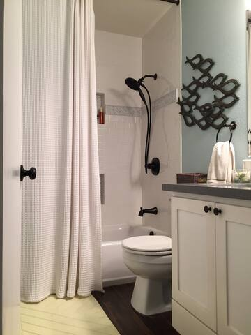 Newly remodeled private bath adjacent to bedroom