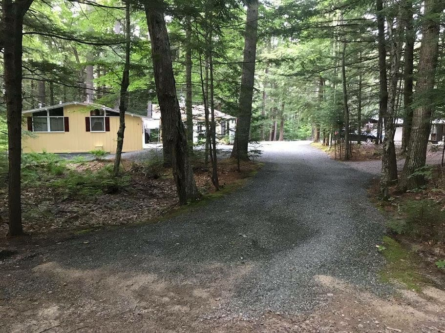View of Cabin from the street. The driveway is shared with a one bedroom cabin to the right - we own both cabins will consider renting both for larger groups! Message me for info!