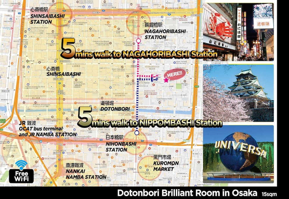 Brilliant Room 03 in Dotonbori debut for 1-3people very conveniently located // we can provide you by the original video from Nippombashi station and Nagahoribashi station how to go to the apartment. access is super easy. // 5min on your foot to Dotonbori, 8min to Kuromon Market.