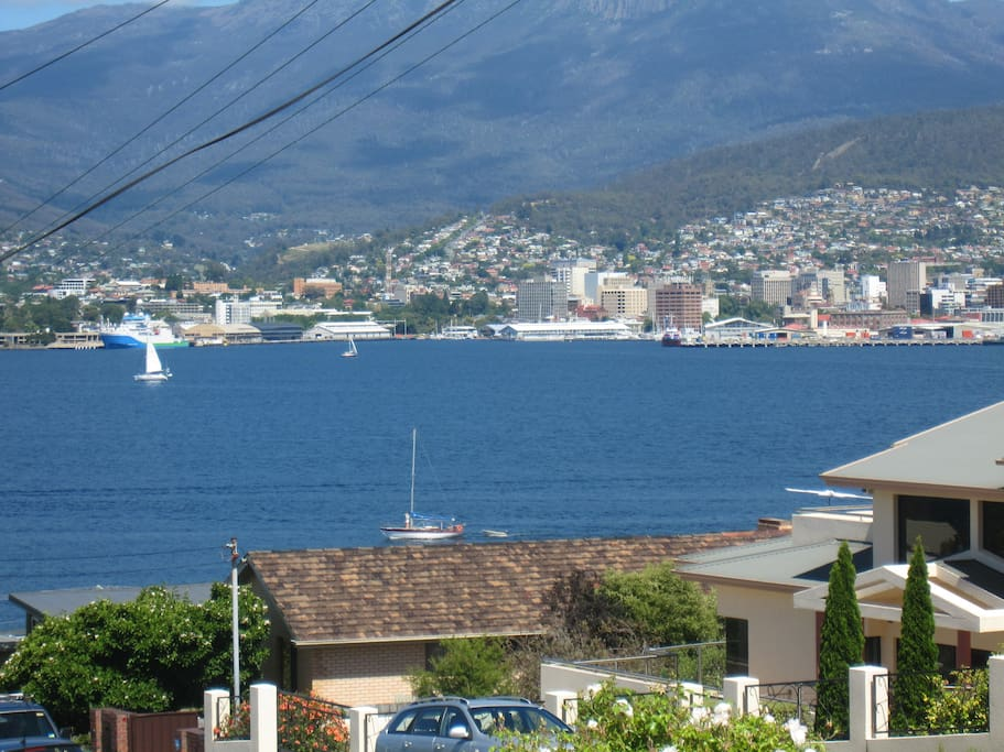 Views from front of house across River Derwent to Hobart City & Mt Wellington