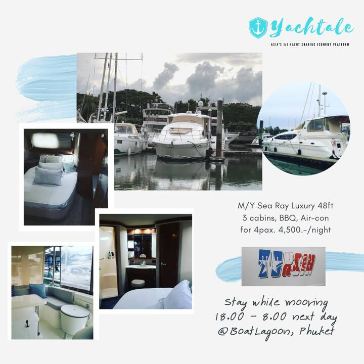Sleep in Motor Yacht 50ft while mooring [Aircon]