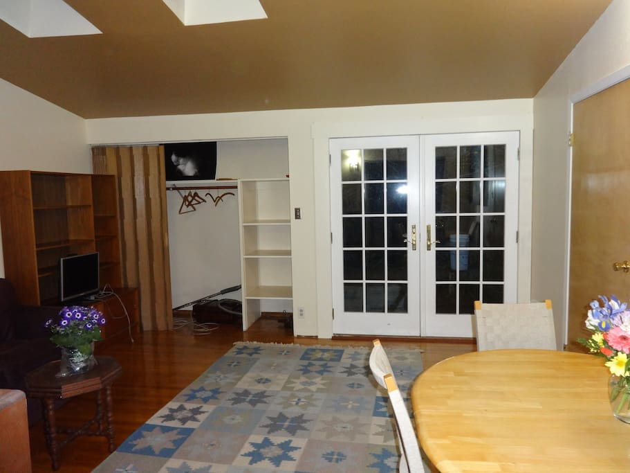 Living room, French doors to the garden.