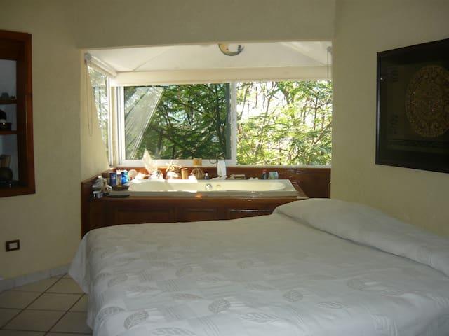 Habitacion con cama King, baño incluido y yacuzzi.