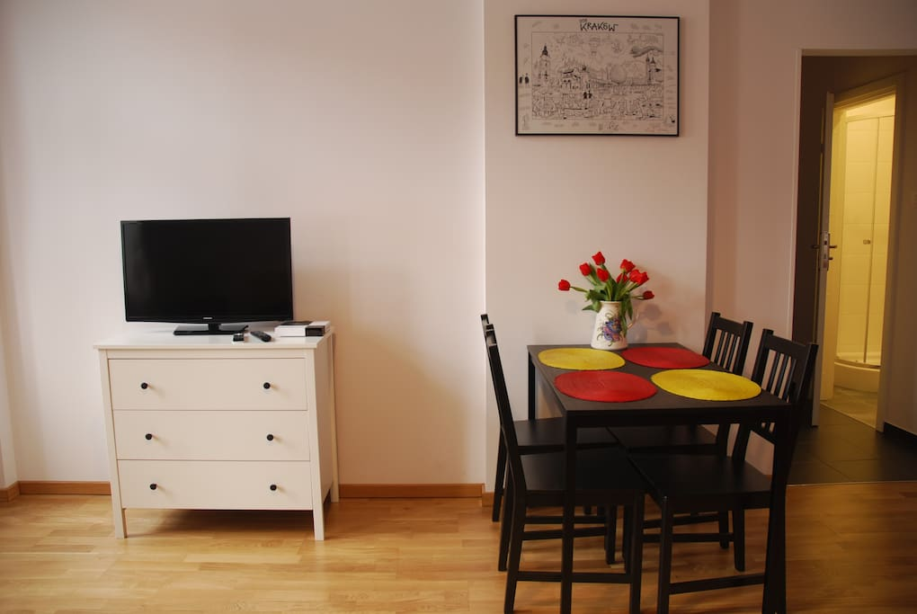 Apt. Emma - living room with a comfortable place for meals and satellite TV.