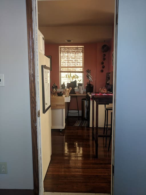 View of the kitchen from your bedroom