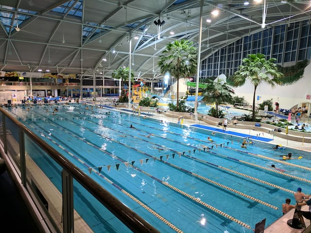 Sydney Olympic Park Aquatic centre! Amazing place to visit and spend your time at! Lap around the pool or the kids can play in the kid's funzone area!