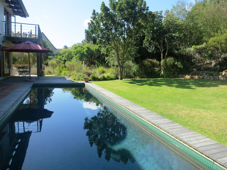 Super length solar heated swimming pool