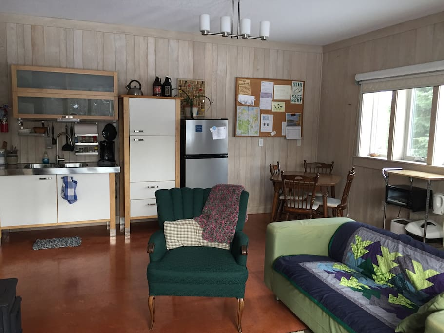 Kitchenette  - Microwave in cupboard, and other appliances too. Table can accommodate 6 with a leaf.