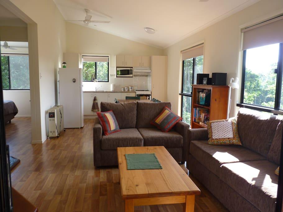 Inside the living area of Bellthorpe Cabin